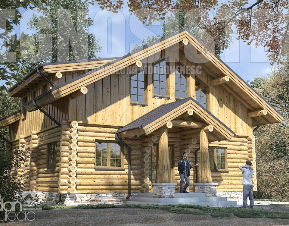 Cabană din lemn rotund din bușteni